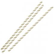 Paie din Hartie - Gold & White Striped - set de 25buc