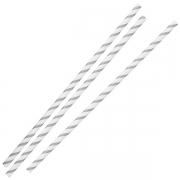 Paie din Hartie - Silver & White Striped - set de 25buc