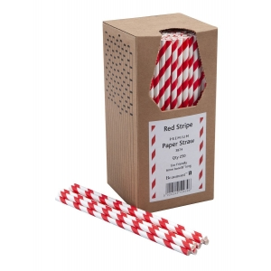 Paie din Hartie - Red & White Striped - set de 250buc
