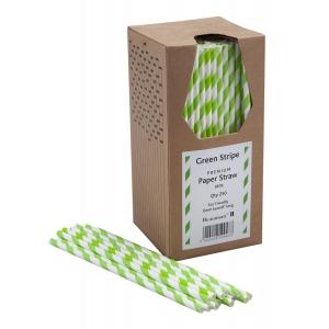 Paie din Hartie - Green & White Striped - set de 250buc
