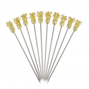Pineapple Garnish Pick - Gold - 10buc/set