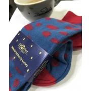 Șosete cu modele de cafea - Boabe de cafea - Rosu/Albastru - 42-46